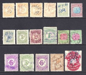 VICTORIA REVENUE STAMPS, POSTAGE DUES COLLECTION LOT 17 STAMPS