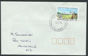 NORFOLK IS 1995 cover to New Zealand - 27c Manned Flight...................42810