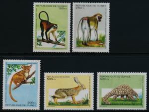 Guinea 1280-5 MNH Animals, Armadilo, Monkey, Otter