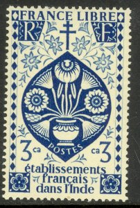 FRENCH INDIA 1942 3ca LOTUS FLOWER Issue Scott No. 144 MH