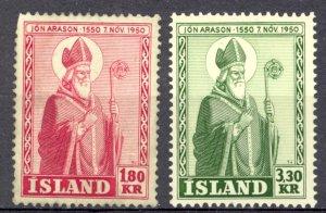 Iceland Sc# 269-270 MH (a) 1950 Jon Arason
