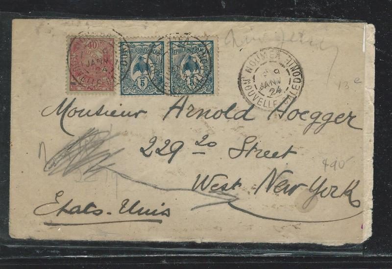 NEW CALEDONIA  (PP2709B) 19224 5CX2+40C ON COVER TO USA