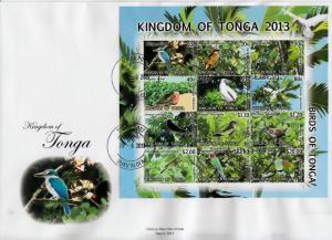 Tonga 2013 FDC Birds Definitives Pt 2 12v S/S Cover Bird Frigatebird Kingfisher