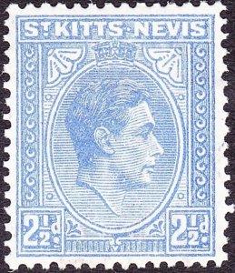 ST KITTS-NEVIS 1943 KGVI 2½d Bright Ultramarine SG72a MH