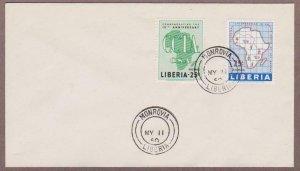 Liberia # 389 & Airmail # C125 Map & CCTA FDC - I Combine S/H