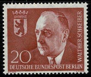 GERMANY BERLIN 1960 ANNI. DEATH SCHREIBER  MINT (NH) SG B187 Wmk.294 P.14 SUPERB