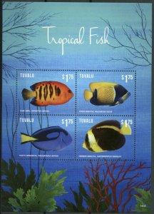 Tuvalu 2015 MNH Tropical Fish 4v M/S II Marine Angelfish Surgeonfish Fishes