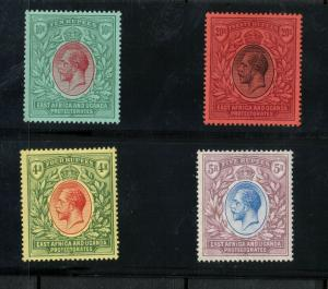 East Africa & Uganda Protectorates #52 - #55 (SG #56 - #59) Very Fine Mint