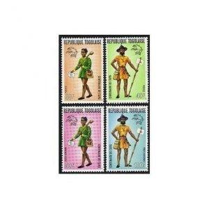 Togo 873-874,C222-C223a perf,imperf,MNH. UPU-100,1974.Mailman,different uniform.