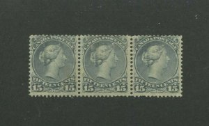 1868 Canada Postage Stamp #30 Mint Hinged F/VF Original Gum Strip of 3