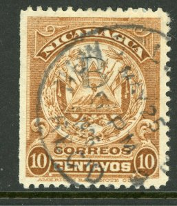 Nicaragua 1905 ABNC 10¢ Yellow Brown New Orleans CDS Y89 ⭐☀⭐☀⭐