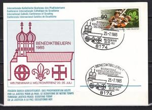 Germany, 1985 issue. 25/JUL/85 issue. Int`l Conference cancel on Postal Card.