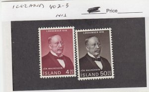 J25780  jlstamps 1968 iceland set mnh #402-3 magnusson checked f/condition