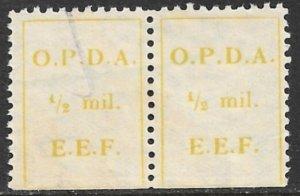 PALESTINE 1924 1/2m OPDA EEF Revenue wmk Sideways R Pair Imperf Bottom Bale 81II