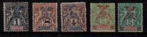 New Caledonia Scott 66-70 Mint hinged (Catalog Value $27.00)