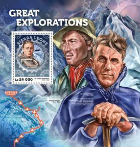 Sierra Leone 2016 MNH Great Explorations Edmund Hillary Shackleton 1v S/S Stamps