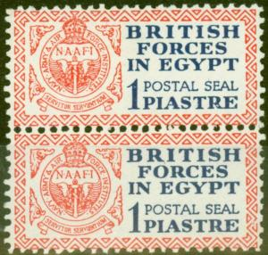 Egypt 1932 1p Dp Blue & Red Postal Seal SGA1 V.F MNH & LMM Vertical Pair