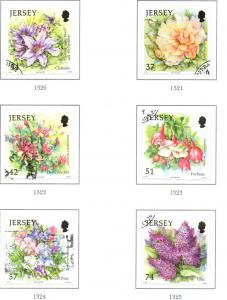Jersey Sc 1275-80 2007 Summer Flowers stamp set used