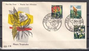 French West Africa, Scott cat. 79, 81, 83. Flowers Part 1. First day cover.