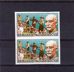 Upper Volta 1984 Mi#945B Scouts/Baden-Powell Set Imperforated in Pair MNH