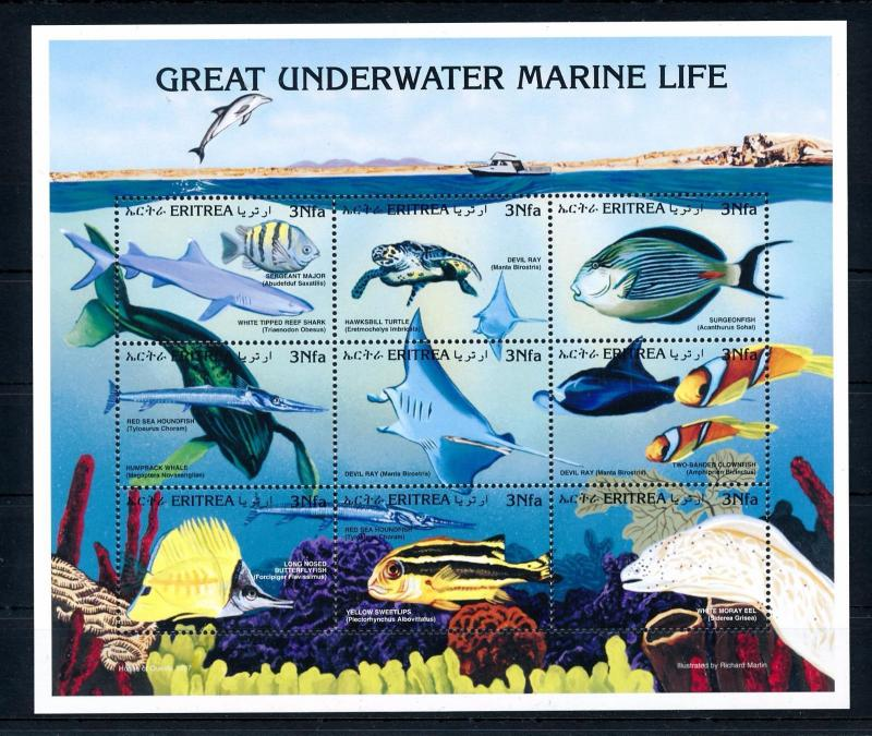 [47961] Eritrea 1998 Marine life Fish Shark MNH Sheet