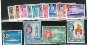 Singapore #28 - #42 Very Fine Never Hinged Set