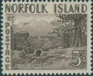 Norfolk Island 1953 SG18 5/- brown Bloody Bridge MNH