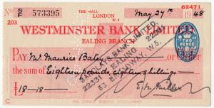 (I.B) George VI Revenue : Cheque Duty 2d (Westminster Bank - Ealing)