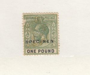 BAHAMAS # 84 MH KGV ONE POUND WITH SPECIMEN O/PRINT (Scratch surface) CV $200