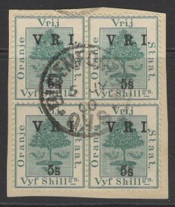 ORANGE FREE STATE SG122+132(x2 EACH) 1900 5s on 5s GREEN FINE USED BLOCK OF 4