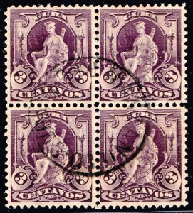 US CUBA STAMP #229 3C 1899 USED BLK OF 4