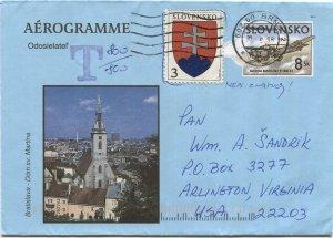 SLOVAKIA 1998 uprated 8sk Aerogramme, BRNO, Czechy to USA + Postage Due