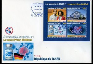 CHAD  2021 PFIZER-BIONTECH VACCINE SHEET FIRST DAY COVER