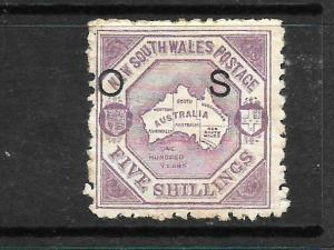 NEW SOUTH WALES 1890-91   5/- LILAC    QV  OFFICIAL   MLH    P10    SG O49