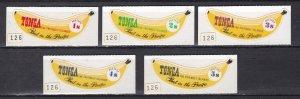 Tonga # 222-226, Bananas - Self Adhesive, NH, 1/2 Cat.