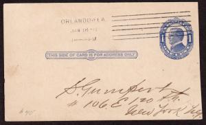 $Florida Machine Cancel Cover, Orlando, 1/18/1911, earliest recorded impression