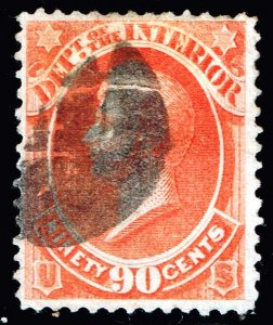 US STAMP BOB #O24 1873 90¢ Perry Official Stamp – Interior used