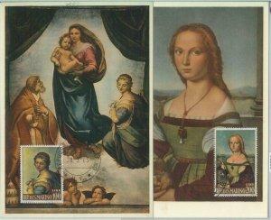 81233 - SAN MARINO - Postal History - Set of 2 MAXIMUM Cards - ART Religion 1963