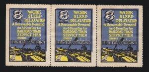 US Vintage Railroad Servicemen Strip of 3 Cinderella Stamps