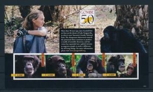 [25805] Uganda 2012 Wild Animals Jane Goodall Chimpanzee MNH
