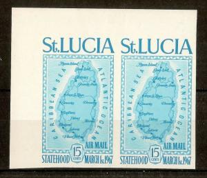 St Lucia 1967 15c Map Imperf Pair SG240 MNH