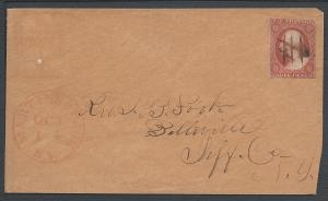 Scott 10, Great Shade on Cover, 1851 Issue