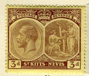 ST. KITTS; 1920-22 early GV portrait issue Mint hinged 3d. value