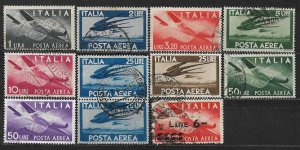 COLLECTION LOT OF 11 ITALY AIR MAIL STAMPS 1945+ CV+ $46