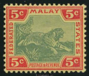 1900-01 Federated Malay States 5c Green & Carmine/Yellow SG 18 MLH