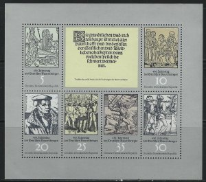 GERMANY DDR - #1619 - 1975 PEASANT WAR 450th ANNIVERSARY MINI SHEET MNH