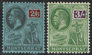 MONTSERRAT 1922 KGV BADGE 2/6 AND 3/- WMK MULTI SCRIPT CA