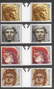 Great Britain # 1502-05  Roman Britain GUTTER PAIRS   (4) Mint NH