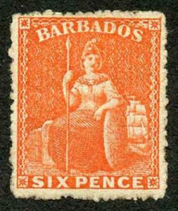 Barbados SG50 6d Orange Vermilion Wmk Small Star Rough Perf 14 to 16 Mint