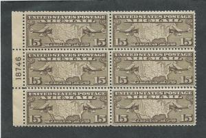 C8 MNH 15c. Airmail Plate Block, scv: $50